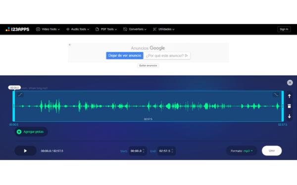 Editores de audio online gratis - Audio Joiner
