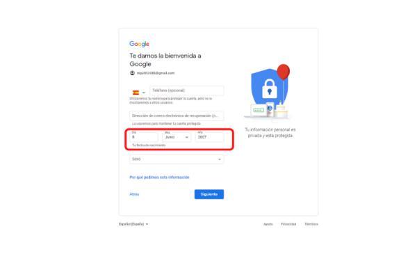 Cómo crear una cuenta en Gmail sin número de teléfono - Ingresa otra edad