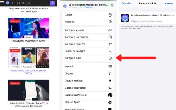 Cómo crear un acceso directo de una página web - En iPhone o iPad